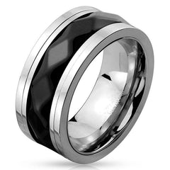 Black Diamond - Two Toned Stainless Steel Spinner Ring