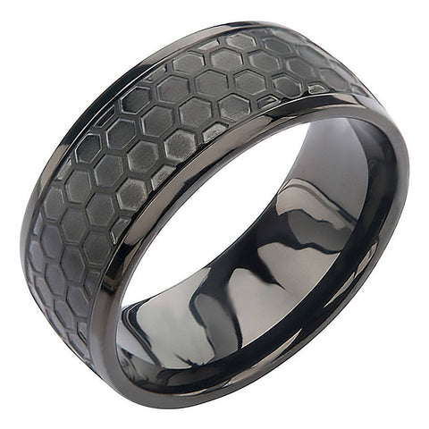 "Black Grille Ring - FINAL SALE Stainless Steel Onyx Brushed 3/8"" Band"