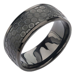 "Black Grille Ring - Stainless Steel Onyx Brushed 3/8"" Band"