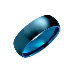 Blue Trust - Matte Finish Domed Blue Stainless Steel Band Ring