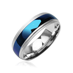 Blue Diamond - Striking Bright Blue Stainless Steel Textured Edges Ring