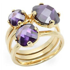 Royalty - FINAL SALE Amethyst tone and gold set of 3 stacking rings