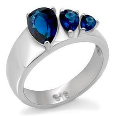 Soothing Trio - Blue sapphire pear cut cubic zirconia trio set in a wide stainless steel band