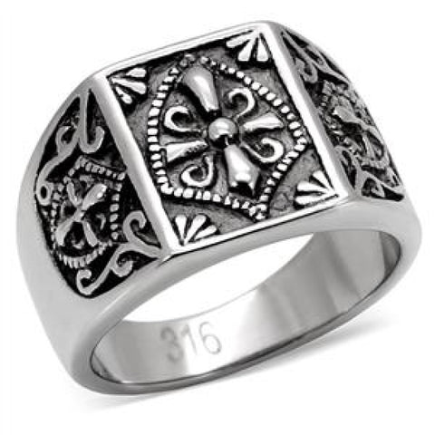 Tribute - Coat of arms signet style antiqued silver stainless steel ring