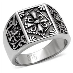 Tribute - FINAL SALE Coat of arms signet style antiqued silver stainless steel ring