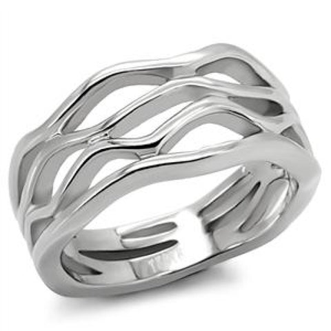 Wave Baby - FINAL SALE Multi Layered stacked look wave design silver stainless steel ring
