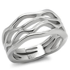 Wave Baby - Multi Layered stacked look wave design silver stainless steel ring
