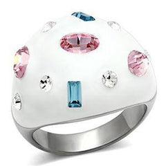 Flirt - Stainless Steel White Multi Color Crystals Cocktail Ring