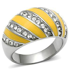 Sunshine Symphony - Yellow Epoxy Inlaid with Top Quality Aurora Borealis Crystals Gorgeous Ring