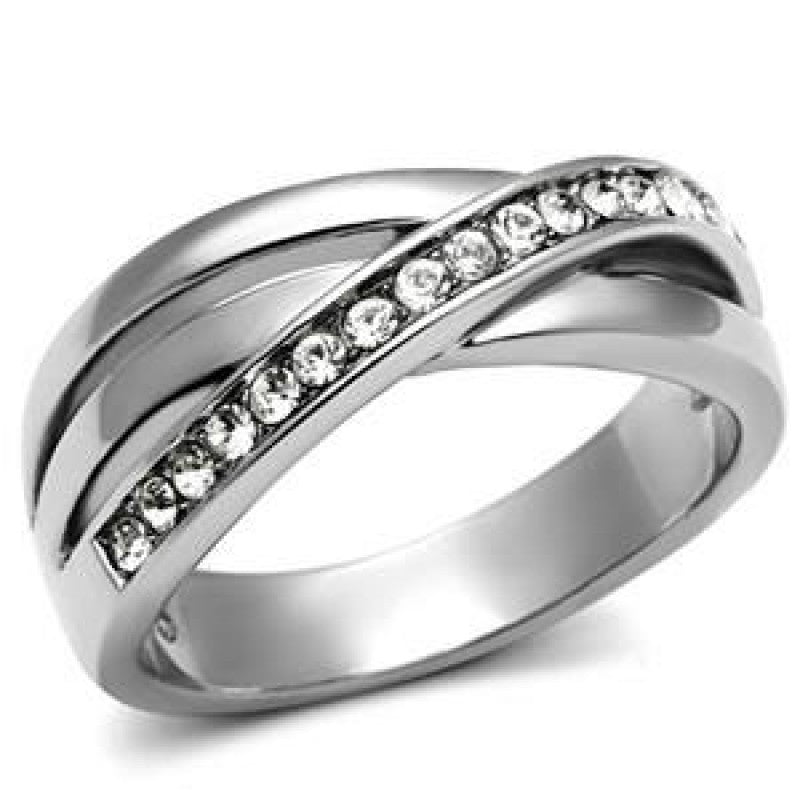 Promises - FINAL SALE Triple overlapping band multiple top grade crystals silver stainless steel ring