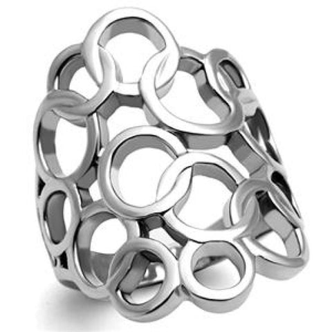 Bubbles – Multiple interlocking circle design stainless steel cocktail ring