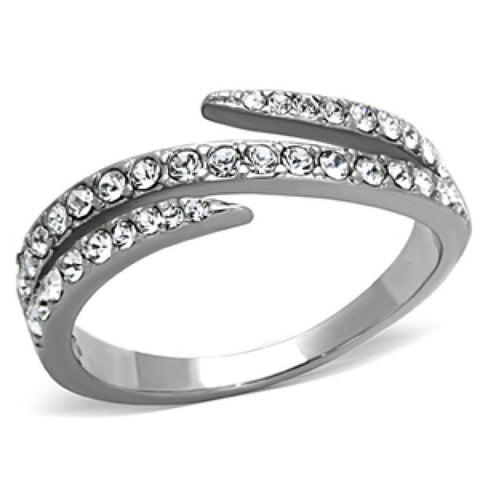 Sparkle Star - Tri split band multiple diamond-cut CZ stones silver stainless steel ring