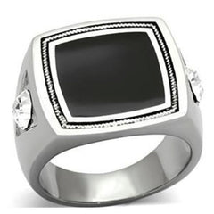 Button in Black - Stainless Steel and Black Epoxy Top Grade Crystal Ring