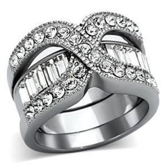 Razzle Dazzle - Two In One Top Grade Crystal and Stainless Steel Ring