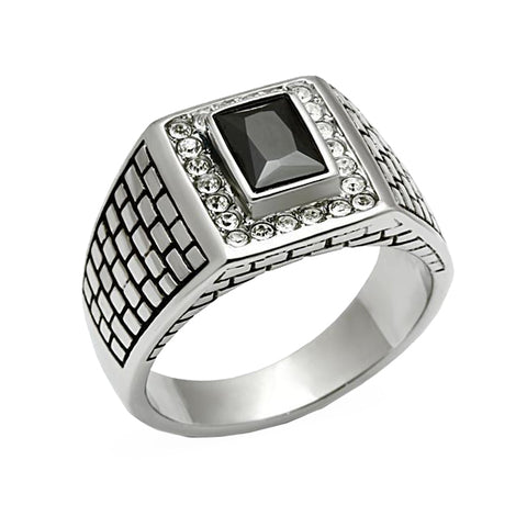 Cobblestone Gem - Men's Stainless Steel Statement Ring With Jet Black Stone