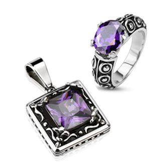 Deep Violet Pendant and Ring Set - Classic Style Black and Stainless Steel Pendant and Ring Set with Violet Cubic Zirconias R-10030+P-10024