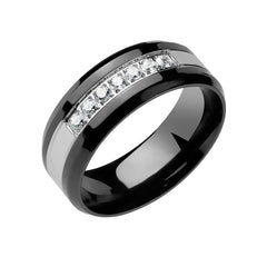 Dignified Shine - Men's CZ Lined Grooved Stainless Steel PVD Ring