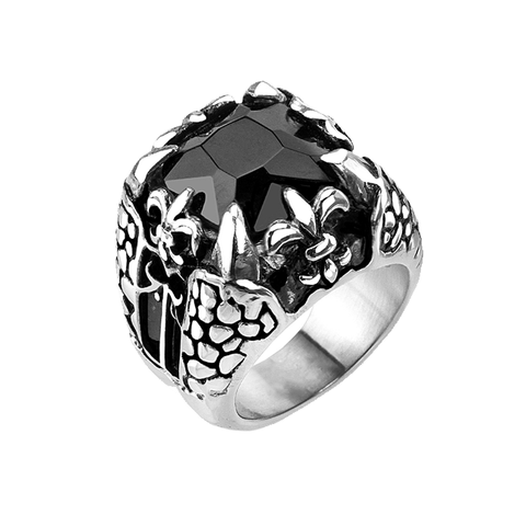 Dragonstone - Large square cut onyx gem dragon claw Fleur De Lis oxidized silver stainless steel men's ring