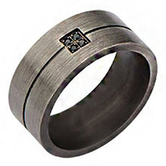 Winchester – Brushed gunmetal finish stainless steel men's ring with black cubic zirconias