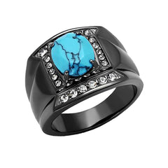 Frederic - Men's Stainless Steel Black Ion Plated Ring With Synthetic Turquoise