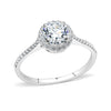 Harmony - Women's Round Clear CZ Halo Stainless Steel Engagement Ring