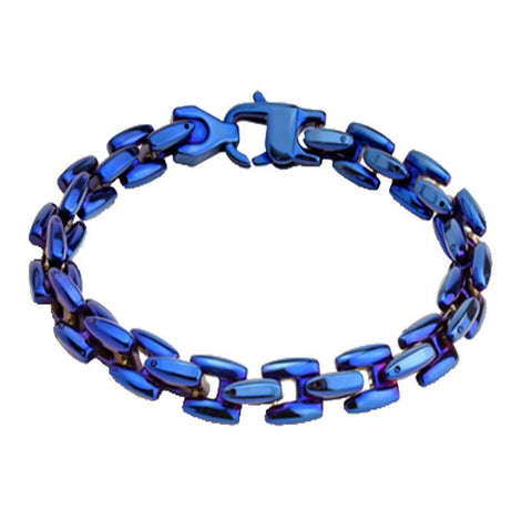 Hypnotic Blue - Dashing Blue IP Scale Linked Stainless Steel Bracelet