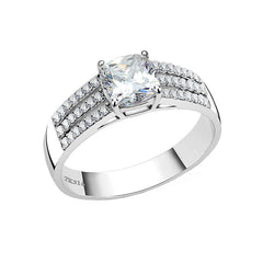 Josephine - Women's Stainless Steel Clear CZ Engagement Ring