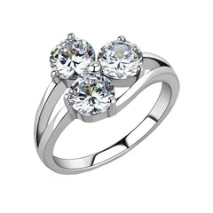 Juliette - Women's Stainless Steel Clear CZ Trio Ring