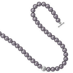 Allure Necklace - Elegant Mauve Glass Pearl Necklace with Sterling Silver Clasp