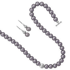 Allure Set - Stylish Mauve Glass Pearls with Corrugated Beads Necklace and Earrings E-10001 and N-10005