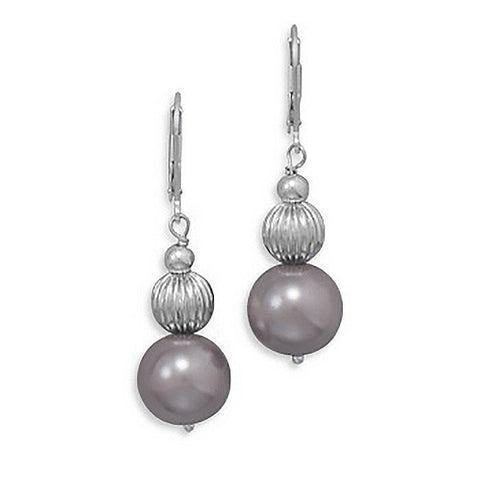 Allure Earrings - Elegant Sterling Silver and Mauve Glass Pearl Earrings