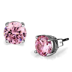 Rose Round Stud - Rhodium Plated CZ Earrings
