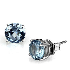Sea Blue Spinel Round Stud - Rhodium Plated Spinel Earrings