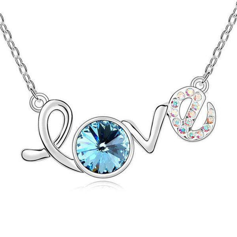 Love Necklace - Silver Plated Necklace With Blue And Clear Crystals
