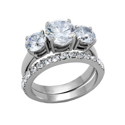 Lovebirds - High Polished Stackable Stainless Steel Ring With 2CT Equivalent Cubic Zirconia Stone