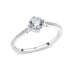 Milena - Women's Round Clear CZ Solitaire Stainless Steel Engagement Ring