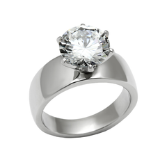 More Than Words - A Breathtaking Stainless Steel Engagement Ring With A Cubic Zirconia 3.87 CT. Eq. Stone