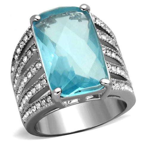 Ocean Serenity - Aquamarine Color Cushion Stone with Lines of Cubic Zirconia Stones