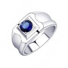 Optimus - Men's Stainless Steel Blue Synthetic Glass Stone Ring