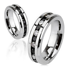 Black Paragon - LIMITED QUANTITY Embedded Glittering Black and Clear Cubic Zirconias Polished Stainless Steel Ring