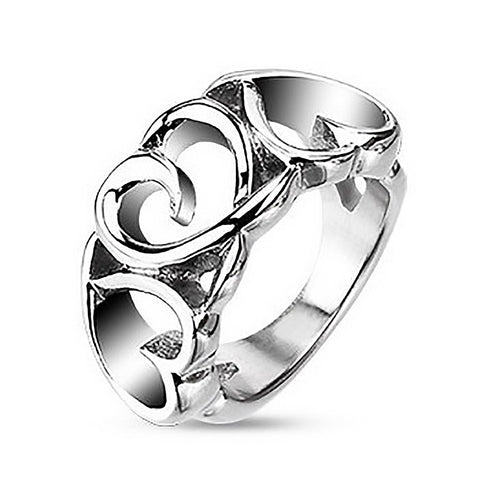 Amore - FINAL SALE Triple Hearts Stainless Steel Love Ring