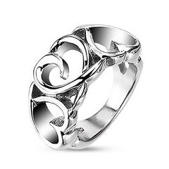 Amore - Triple Hearts Stainless Steel Love Ring