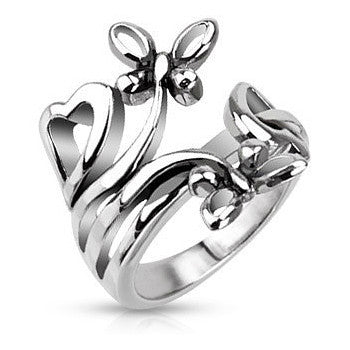 Nature Dances - Nature Inspired Stainless Steel Classy Comfort Fit Ring