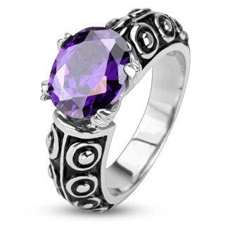 Deep Violet Ring - Classic Style Black and Stainless Steel Ring with Violet Cubic Zirconia