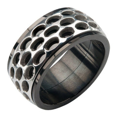 Rally Black Ring - Stainless Steel Black and Silver Spinner Band
