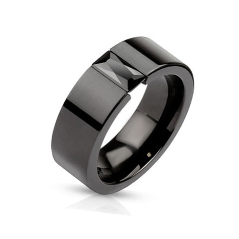 Resilient 6mm- Black Ion Plated Stainless Steel Ring With Rectangular Black Gem