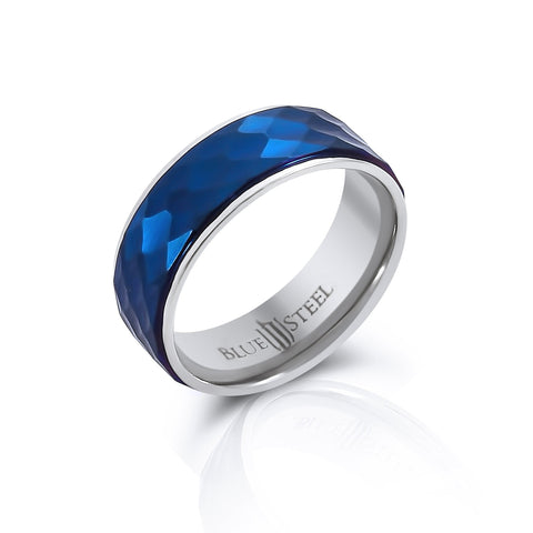 Chicago Blues - LIMITED Multi faceted blue IP and silver stainless steel men's ring
