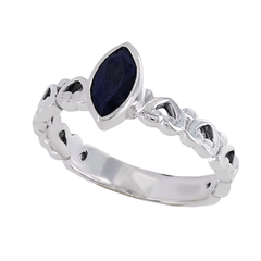Sapphire Love - Simple But Elegant Oxidized Sterling Silver Sapphire Ring