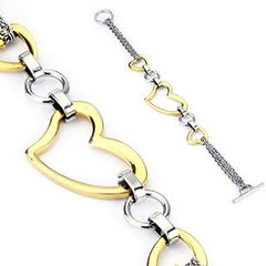 Heartbeat - Triple Hearts Classy Design Gold and Stainless Steel Elegant Style Bracelet