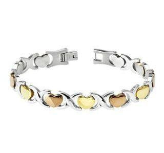 Hearts and Kisses Bracelet - Gold and Rose Gold Tri-Color Stainless Steel Classic Bracelet